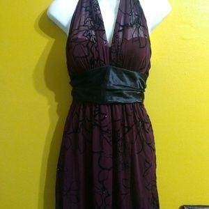 Burgundy black sheer halter goth evening dress